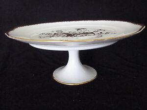 Image is loading Royal-Limoges-France-Hand-Painted-Pedestal-Cake-Stand- & Royal Limoges France Hand Painted Pedestal Cake Stand China Plate ...