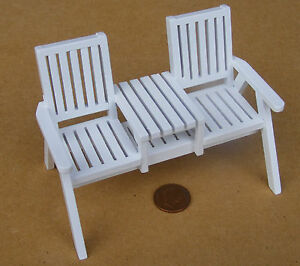 1:12 Scale Dolls House Miniature White Painted Wood Twin Garden Seat Accessory