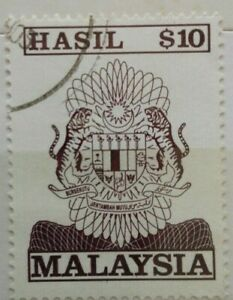 Malaysia Used Revenue Stamps - $10 Stamp (Old Design Big Size)