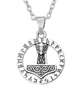 THOR-S-HAMMER-Anhaenger-mit-Halskette-Herrenkette-Odin-Wikinger-Schmuck