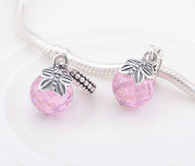FACETED PINK BUTTERFLY 925 Sterling Silver Solid Dangle Charm Bead Charm