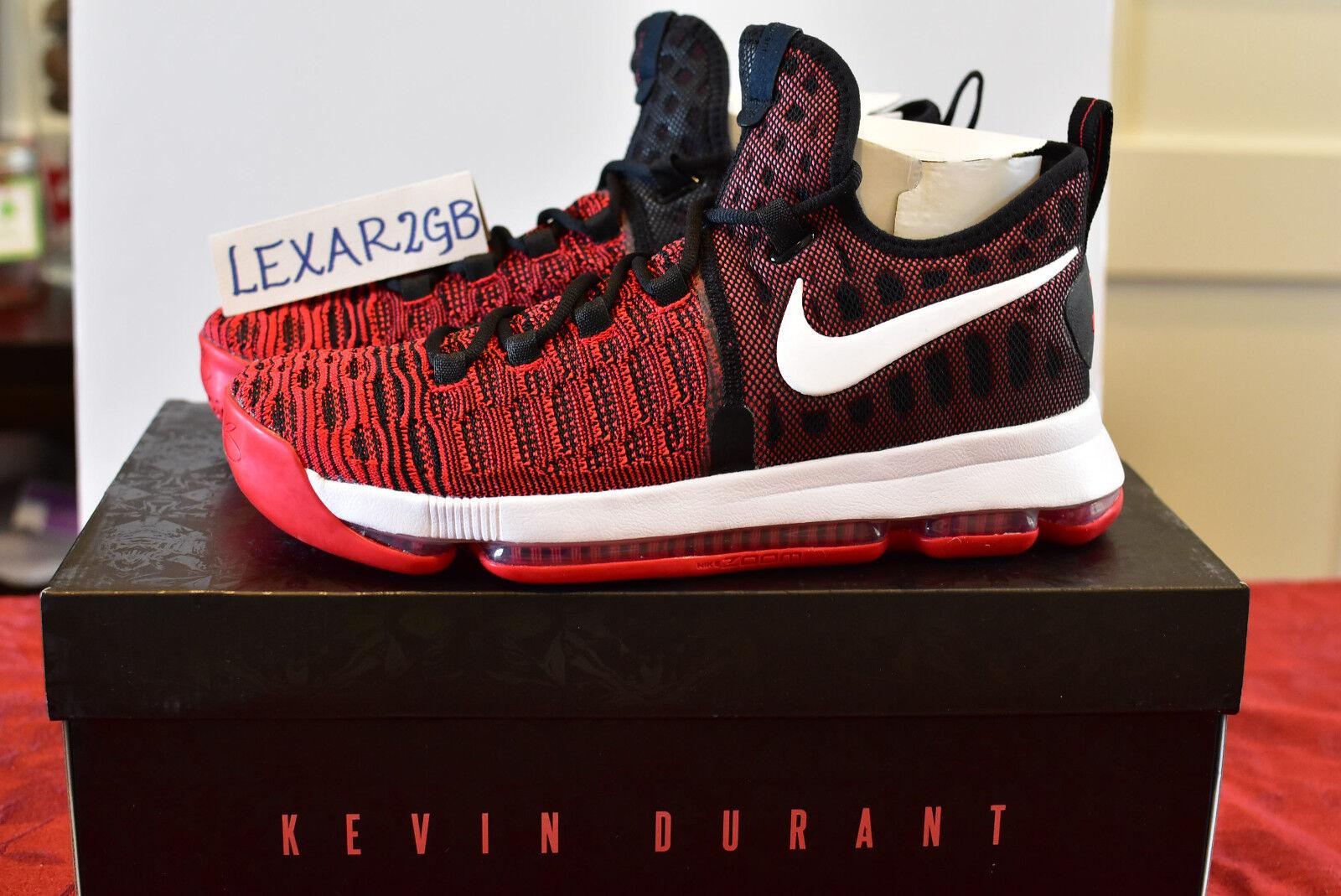 Nike Zoom KD 9 KEVIN DURANT University Red White Black SZ 9.5  (843392 610)