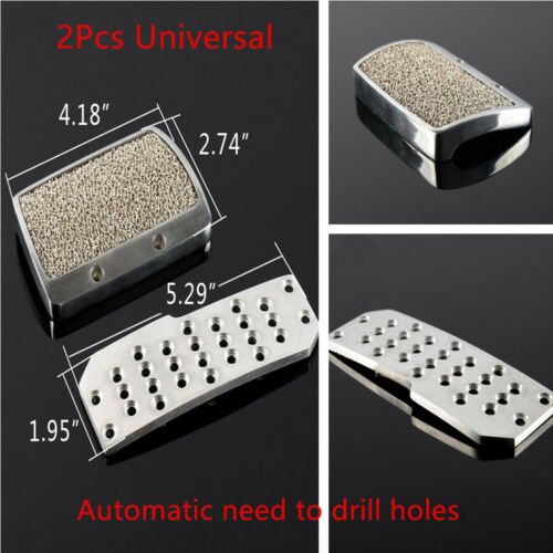 2Pcs Car Auto Automatic Brake Non Slip Pedal Pad Cover Set Silver Tone Universal