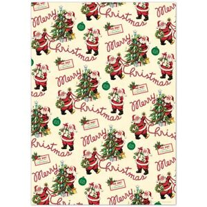 Santa Christmas Delivery Wrapping Paper Sheet Vintage ...