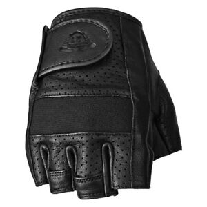 Highway 21 Mens Perforated Jab Open Finger Leather Motorcycle Gloves : Pick Size