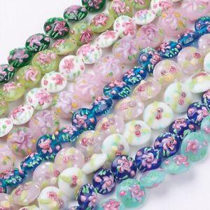 24pcs-Mixed-Color-Bumpy-Lampwork-Perles-Plat-Rond-avec-Fleur-17-20-mm-A-faire-soi-meme