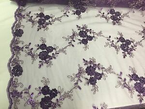Purple-Ribbon-3D-Flowers-Embroider-With-A-Metallic-Tread-On-A-Mesh-Lace-Fabric