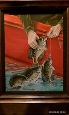 Wiley Miller Fishing Facts Original Oil Painting: April 1974 Crappie At The Boat