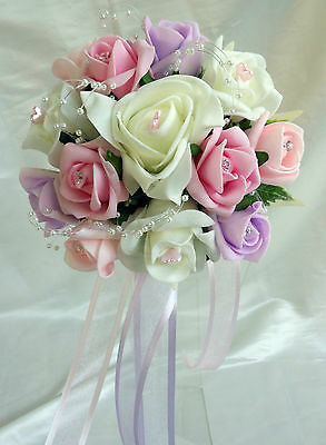 Brides,Bridesmaids,buttonholes  Wedding Bouquet Flowers  Ivory/Lilac/Baby pink