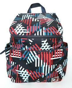 Tommy-Hilfiger-Women-039-s-Signature-Print-Backpack-Black-Blue-Red-White