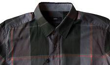 Men's HUGO BOSS Gray Black Windowpane Plaid Shirt 2XL XXL NWT NEW $155 Slim Fit
