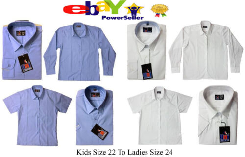UK School Blouse Girls Shirt White Pale Blue Long Short Sleeve Ages 2 to Adults