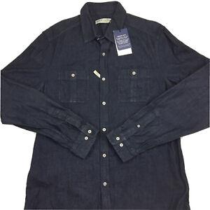 RM-Williams-Men-s-Long-Sleeve-Rancher-Dark-Blue-Slim-Fit-Button-Up-Shirt-2XL-XXL