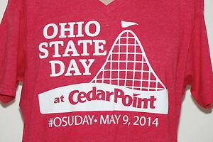 Ohio-State-Day-at-Cedar-Point-2014-T-Shirt-MEDIUM-Red-V-Neck-Amusement-Park