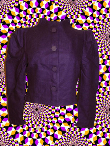 46 ✪ Twiggy Jacket Sixties Style Retro 60er Years Gerüscht Purple Size S