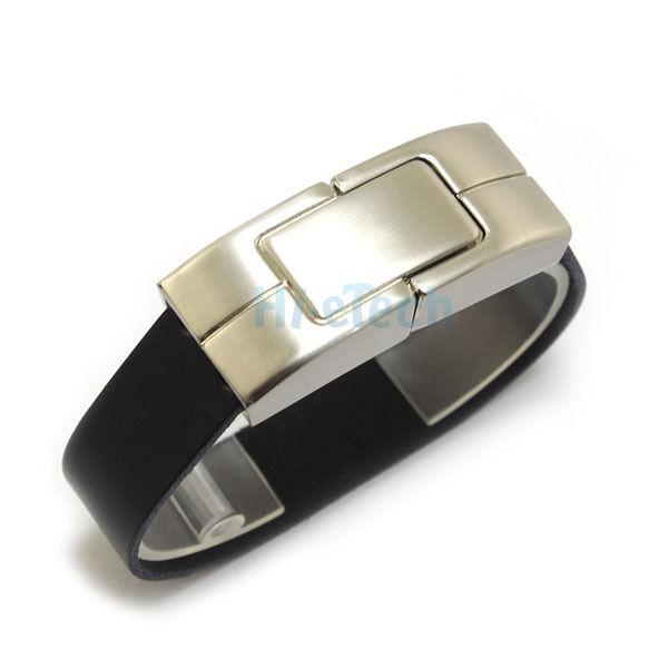 New 16GB Black Bracelet Leather Metal Case USB 2.0 Flash Drive Memory Storage HK