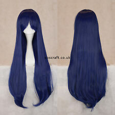 80cm long straight cosplay wig with fringe, midnight blue, UK SELLER Alex style