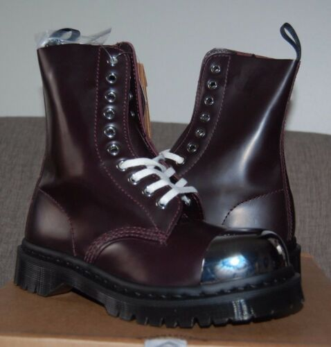 """5US//3UK Oxblood Red Polished /""""Steel/"""" Toe 10-Eye Boots Dr Martens Grasp 1919"""