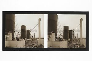 Bateau-Ile-de-France-Le-Havre-France-Photo-B10-stereo-Plaque-verre-Vintage-1927