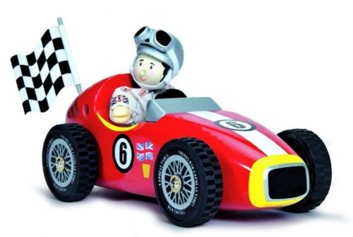 NEW PAPO Le Toy Van Budkins Wooden Red Retro Racer Monza with Driver 18cm
