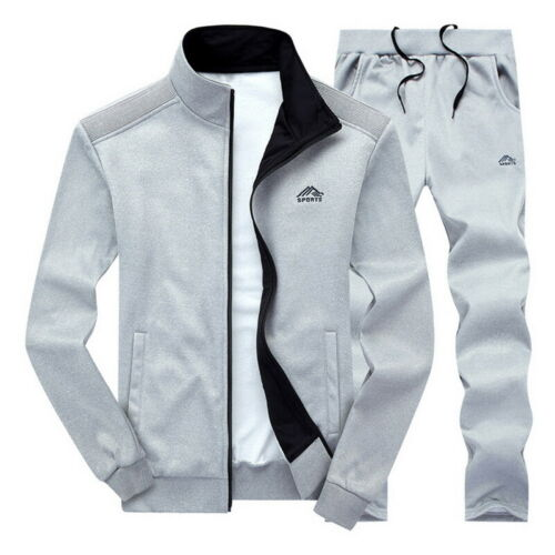 Mens Sportswear Tracksuit 2PCS//set Gym Coat Long Sleeve Casual Zipper Tracksuit