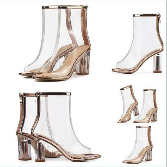 2019 New Women Sandal shoes Ankle Boot Stylish Summer Transparent Block Heel Hot