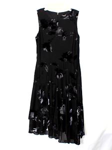 DKNY-Asymmetrical-Black-Flroal-Dress-Size-12