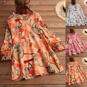 ZANZEA-UK-Womens-Long-Sleeve-O-Neck-Floral-Printed-Casual-Loose-Shirt-Top-Blouse