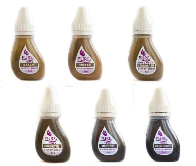 BIOTOUCH Permanent Makeup EYEBROW TONE Pure Pigment Color 6 Bottle MIX Set