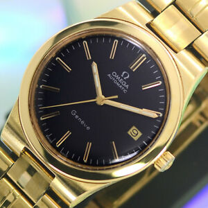 VINTAGE-OMEGA-Geneve-AUTOMATIC-23-JEWELS-CAL-1012-DATE-ANALOG-DRESS-MEN-039-S-WATCH