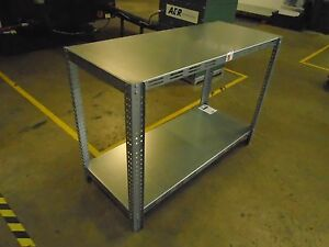 Image Is Loading Galvanized Steel Shelving Heavy Table  Commercial Industrial Garage