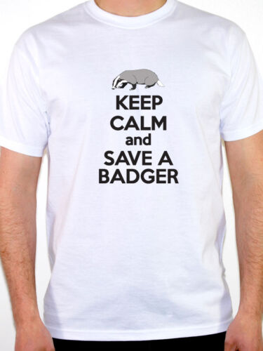 Wild Life Badgers Novelty Themed Mens T-Shirt KEEP CALM AND SAVE A BADGER