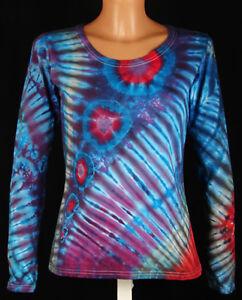 Details zu DAMEN T Shirt Gr. S 5XL langarm handgefärbt. Hippie Tie dye Batik Psy Goa NEU