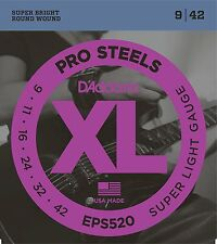 D'Addario EPS520 XL Pro Steels Round Wound Electric Guitar Strings 9-42 sup lite