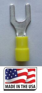 50-Yellow-Vinyl-10-12-AWG-Spade-Fork-Wire-Connector-Terminal-1-4-034-Stud-USA-Made