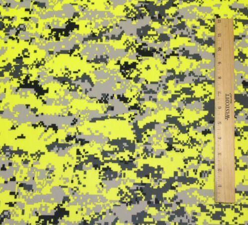 "DIGITAL CAMO SAFETY YELLOW POLYESTER KNIT INTERLOCK ATHLETIC FABRIC BY YARD 60/""W"