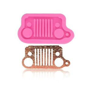 Silicone Mold Jeep Car Grill Mold For Key Chain With Hole  Clay Mold Epoxy Resin