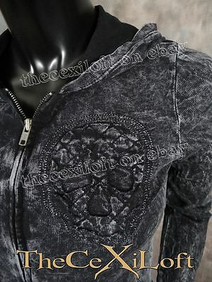 Womens VOCAL Long Sleeve Hoodie with 3-D Skulls Sewn On in Washed Black!