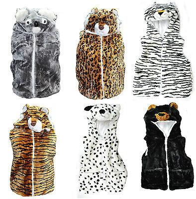 Kid Boys Girls Body Warmer Novelty Animal Furry Zip Fleece Gilet Pocket Hood New