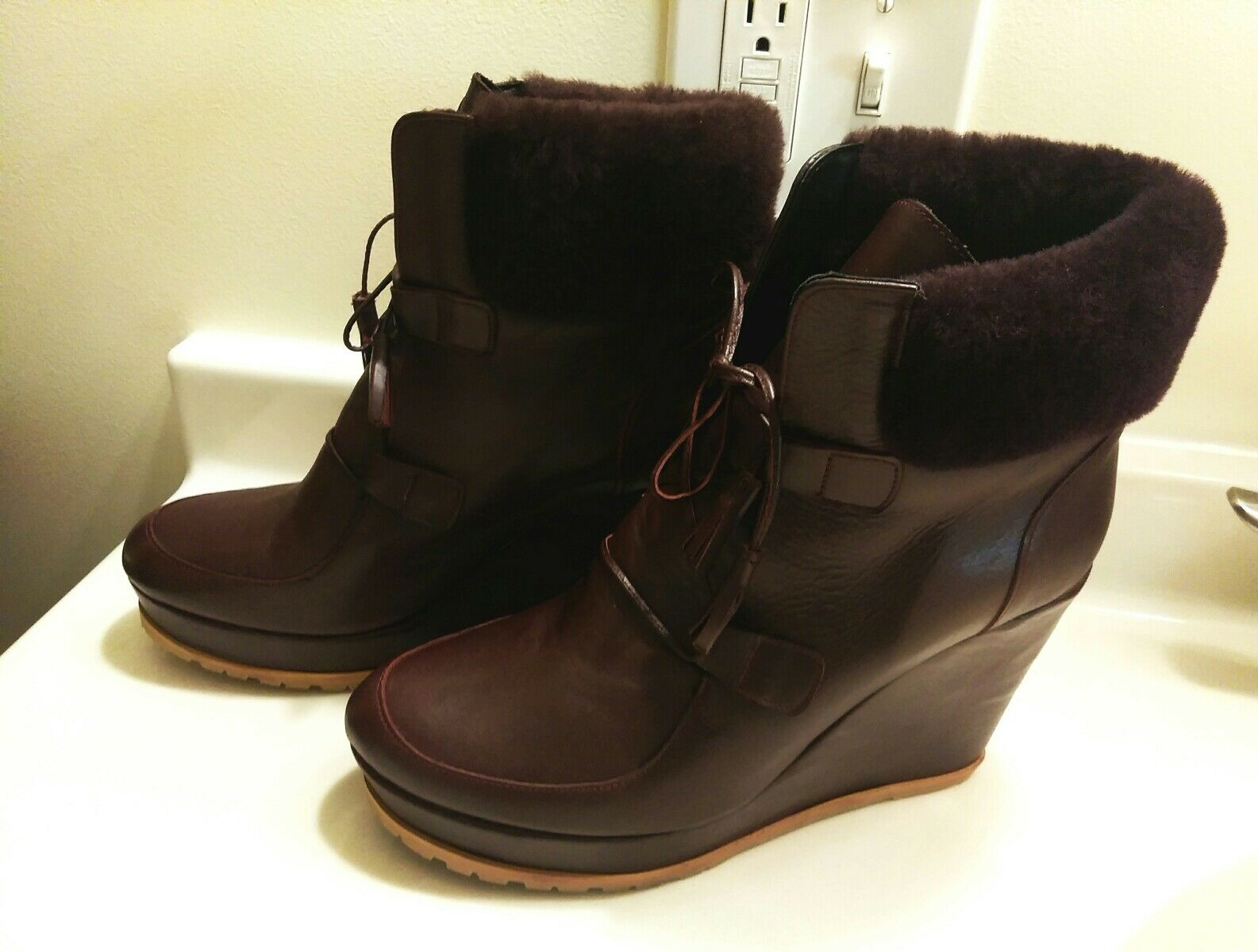 400 LAFAYETTE GALLERIES LAFAYETTE 400 PARIS WOMEN'S FUR LEATHER ANKLE Stiefel Schuhe SZ 40 US 9 39d225