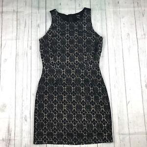 Forever-21-womens-jrs-M-black-beige-lace-sleeveless-cut-out-back-sheath-dress