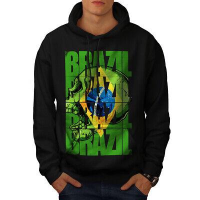 Wellcoda Brazil Flag Mens Hoodie, Country Soccer Casual Hooded Sweatshirt Angenehme SüßE