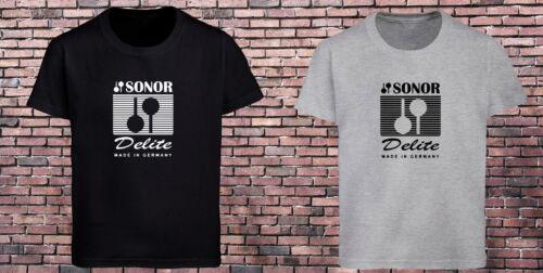 Sonor Delite Drums Cymbals Percussion Logo Black T-Shirt Grey Tee Men/'s S-3XL