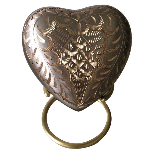 Elegance Platinum Small Heart Keepsake Urn for Ashes with Stand & Velvet Box