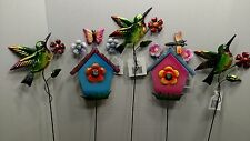 5pc metal yard set Humming birds, bird houses, butterflyies garden decor