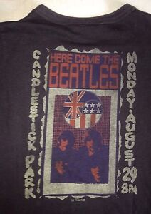 VINTAGE-THE-BEATLES-candlestick-park-S-F-JUNK-FOOD-LADIES-SMALL-T-SHIRT-ROCK