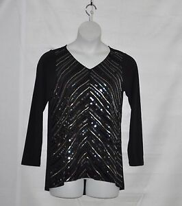 Bob-Mackie-Long-Sleeve-V-Neckline-Knit-Tunic-with-Sequin-Detail-Size-S-Black
