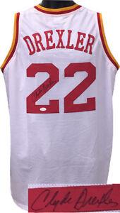 f521ea84b5b7 Clyde Drexler signed White TB Stitched Pro Basketball Jersey XL- JSA ...