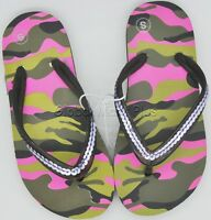 Flip Flops Thong Sandals Flats Children Girls Pink Camo Camouflage Sequin Straps
