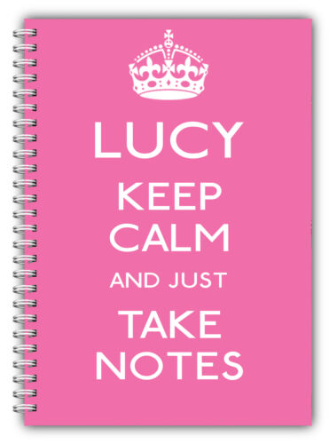 A5 PERSONALISIERT NOTIZBUCH//KEEP CALM /& TAKE NOTIZEN//LINIERT PAPIER//PINK